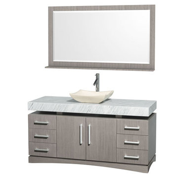 Wyndham Monterey 60 Inch Gray Oak Vanity With Carrera Marble Top, Ivory Sink And Mirror