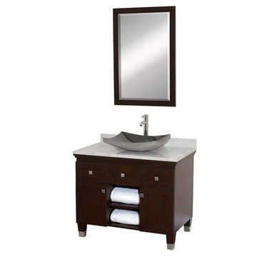 Wyndham Premiere 36 Inch Espresso Vanity With Carrera Marble Top, Black Sink And Mirror