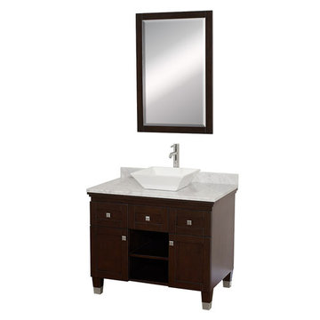 Wyndham Premiere 36 Inch Espresso Vanity With Carrera Marble Top, White Sink And Mirror