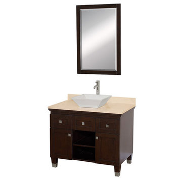 Wyndham Premiere 36 Inch Espresso Vanity With Ivory Marble Top, White Sink And Mirror