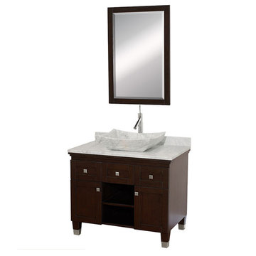 Wyndham Premiere 36 Inch Espresso Vanity With Matching Mirror And Carrera Marble And Sink
