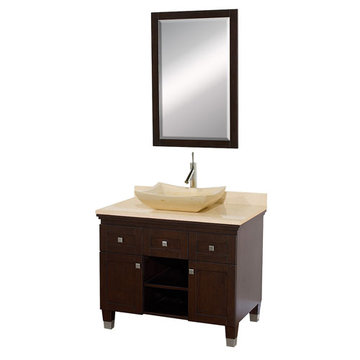 Wyndham Premiere 36 Inch Espresso Vanity With Matching Mirror And Ivory Marble And Sink