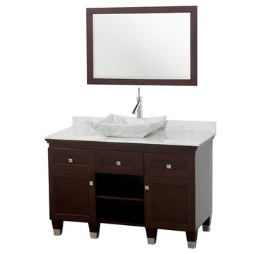 Wyndham Premiere 48 Inch Espresso Vanity With Matching Mirror And Carrera Marble And Sink