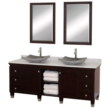 Wyndham Premiere 72 Inch Double Espresso Vanity With Carrera Marble Top, Black Sink And Mirrors