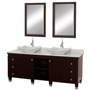 Wyndham Premiere 72 Inch Double Espresso Vanity With Matching Mirrors And Carrera Marble And Sink