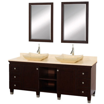 Wyndham Premiere 72 Inch Double Espresso Vanity With Matching Mirrors And Ivory Marble And Sink