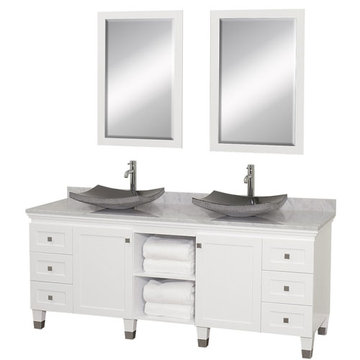 Wyndham Premiere 72 Inch Double White Vanity With Carrera Marble Top, Black Sink And Mirrors
