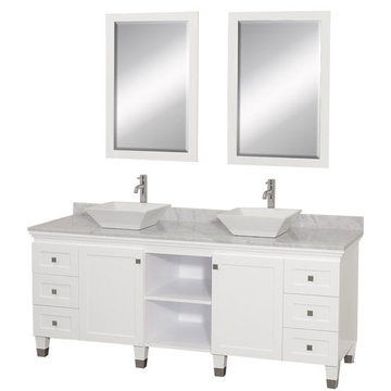 Wyndham Premiere 72 Inch Double White Vanity With Carrera Marble Top, White Sink And Mirrors