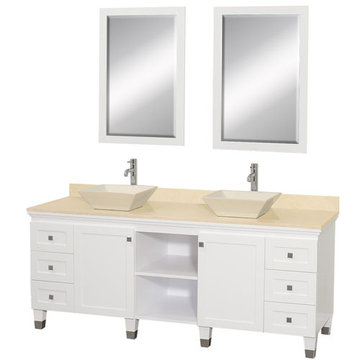 Wyndham Premiere 72 Inch Double White Vanity With Ivory Marble Top, Bone Sink And Mirrors