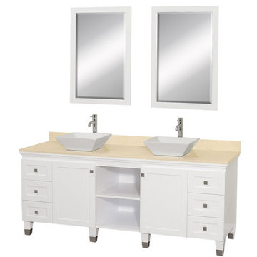 Wyndham Premiere 72 Inch Double White Vanity With Ivory Marble Top, White Sink And Mirrors