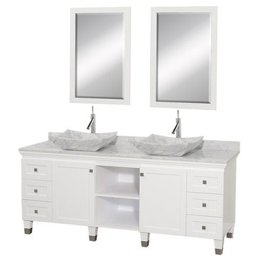 Wyndham Premiere 72 Inch Double White Vanity With Matching Mirrors And Carrera Marble And Sink