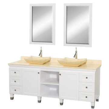 Wyndham Premiere 72 Inch Double White Vanity With Matching Mirrors And Ivory Marble And Sink