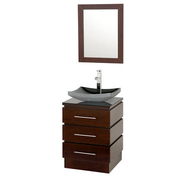 Wyndham Rioni Vanity With Smoke Glass Top, Black Granite Sink And Mirror