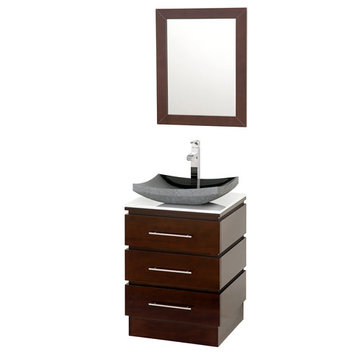 Wyndham Rioni Vanity With White Glass Top, Black Granite Sink And Mirror