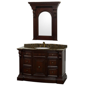 Wyndham Roosevelt Cherry 48 Inch Vanity With Baltic Brown Marble And Mirror