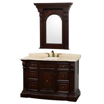 Wyndham Roosevelt Cherry 48 Inch Vanity With Ivory Marble And Mirror