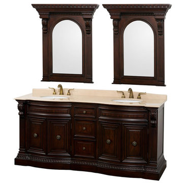 Wyndham Roosevelt Cherry 72 Inch Vanity With Ivory Marble And Mirror