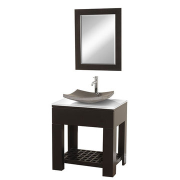 Wyndham Zen Ii Modern Vanity With Black Granite Sink