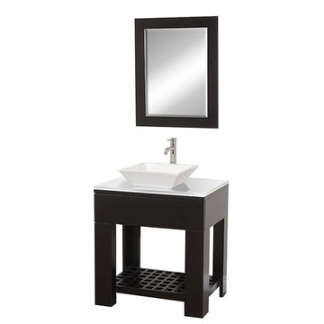 Wyndham Zen Ii Modern Vanity With White Porcelain Sink