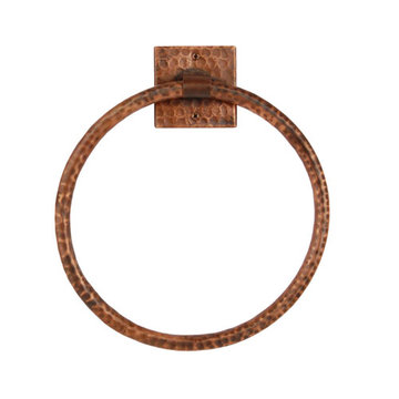 Premier Copper 10 Inch Hand Hammered Copper Full Size Bath Towel Ring