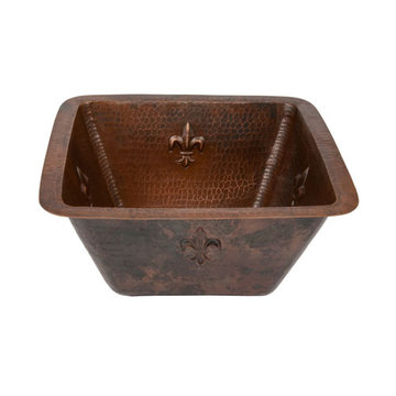 Premier Copper 15 Inch Square Fleur De Lis Copper Bar Prep Sink