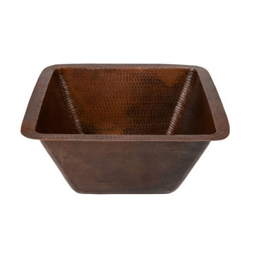 Premier Copper 15 Inch Square Hammered Copper Bar Prep Sink