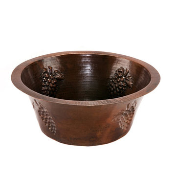 Premier Copper 16 Inch Round Copper Bar Sink With Grapes