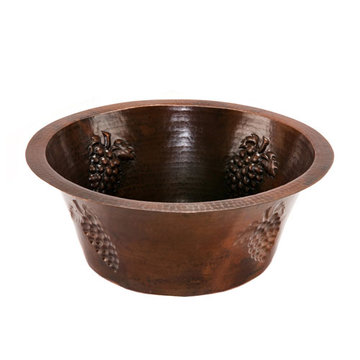 Premier Copper 16 Inch Round Copper Prep Sink With Grapes