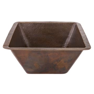 Premier Copper 17 Inch Square Hammered Copper Bar Prep Sink