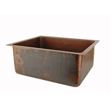 Premier Copper 20 Inch Hammered Copper Kitchen Single Basin Sink