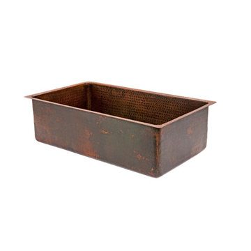Premier Copper 30 Inch Hammered Copper Kitchen Single Basin Sink