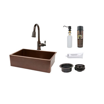 Premier Copper 33 Inch Antique Hammered Copper Kitchen Apron Single Basin Sink & Faucet Package