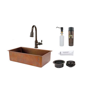 Premier Copper 33 Inch Antique Hammered Copper Kitchen Single Basin Sink & Faucet Package