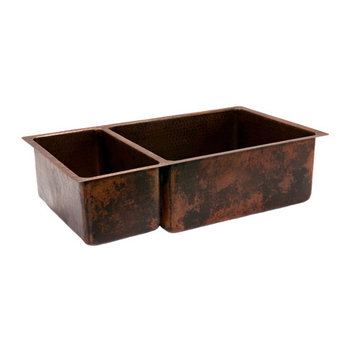 Premier Copper 33 Inch Hammered Copper Kitchen 25/75 Double Basin Sink
