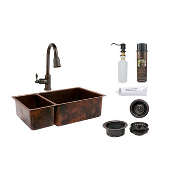 Premier Copper 33 Inch Hammered Copper Kitchen 25/75 Double Basin Sink & Faucet Package