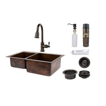 Premier Copper 33 Inch Hammered Copper Kitchen 40/60 Double Basin Sink & Faucet Package
