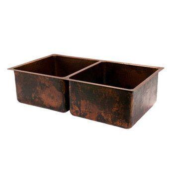 Premier Copper 33 Inch Hammered Copper Kitchen 50/50 Double Basin Sink