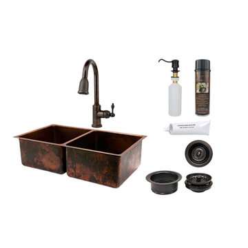 Premier Copper 33 Inch Hammered Copper Kitchen 50/50 Double Basin Sink & Faucet Package