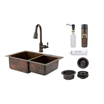 Premier Copper 33 Inch Hammered Copper Kitchen 60/40 Double Basin Sink & Faucet Package