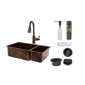 Premier Copper 33 Inch Hammered Copper Kitchen 75/25 Double Basin Sink & Faucet Package