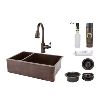 Premier Copper 33 Inch Hammered Copper Kitchen Apron 25/75 Double Basin Sink & Faucet Package