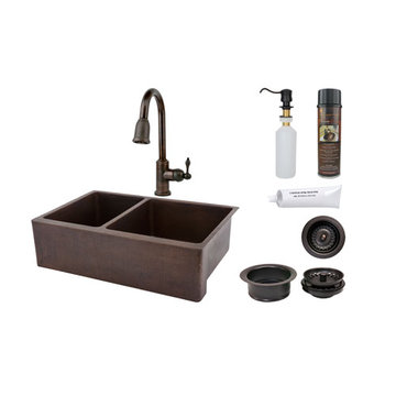 Premier Copper 33 Inch Hammered Copper Kitchen Apron 40/60 Double Basin Sink & Faucet Package