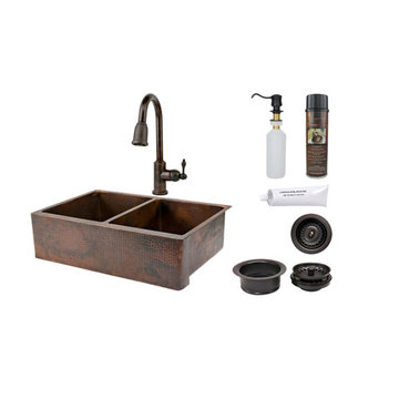 Premier Copper 33 Inch Hammered Copper Kitchen Apron 50/50 Double Basin Sink & Faucet Package