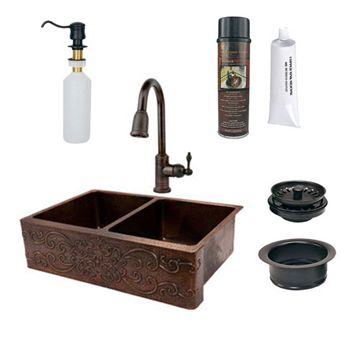 Premier Copper 33 Inch Hammered Copper Kitchen Apron 50/50 Double Basin Sink With Scroll Design Package