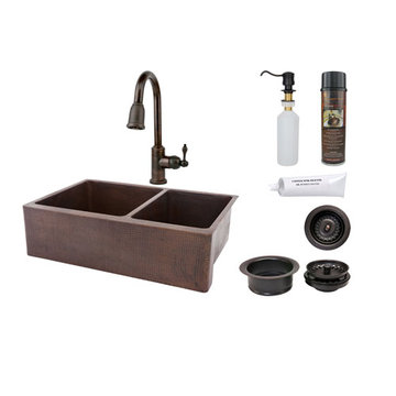 Premier Copper 33 Inch Hammered Copper Kitchen Apron 60/40 Double Basin Sink & Faucet Package
