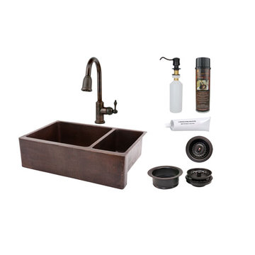 Premier Copper 33 Inch Hammered Copper Kitchen Apron 75/25 Double Basin Sink & Faucet Package
