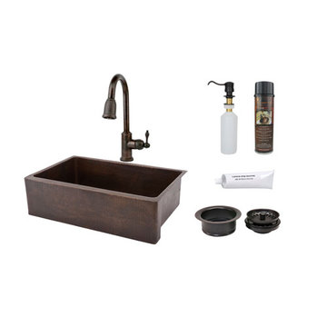 Premier Copper 33 Inch Hammered Copper Kitchen Apron Single Basin Sink & Faucet Package