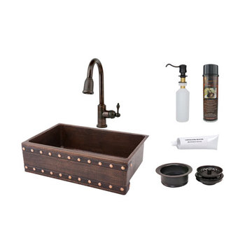 Premier Copper 33 Inch Hammered Copper Kitchen Apron Single Basin Sink With Barrel Strap Design Package