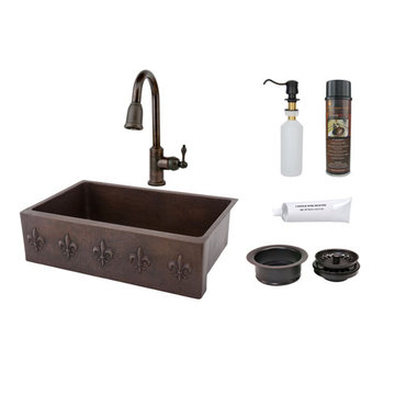 Premier Copper 33 Inch Hammered Copper Kitchen Apron Single Basin Sink With Fleur De Lis Package