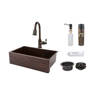 Premier Copper 33 Inch Hammered Copper Kitchen Apron Single Basin Sink With Scroll Design Package